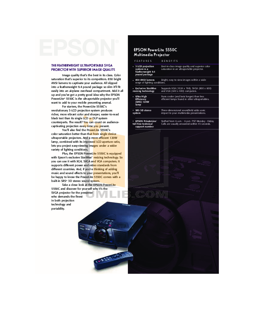 pdf for Epson Projector PowerLite 5550c manual