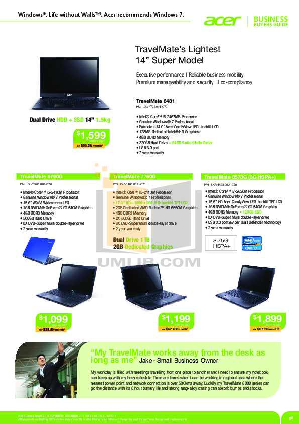 Acer Travelmate 2100 Manual