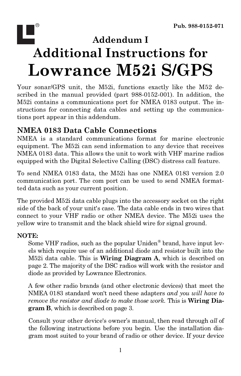 Download Free Pdf For Lowrance M52i S Gps Manual Uniden Nmea Cable Wiring Diagram