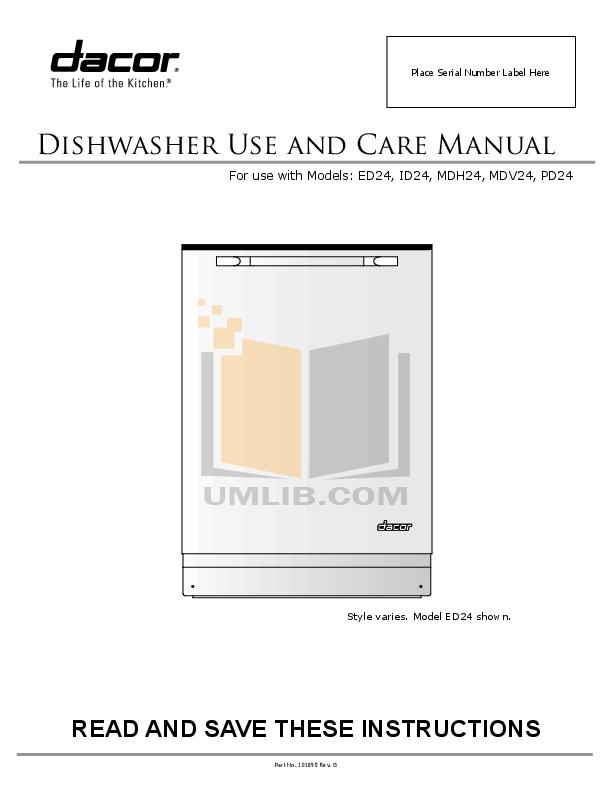 pdf for Dacor Dishwasher Millennia MDV24 manual