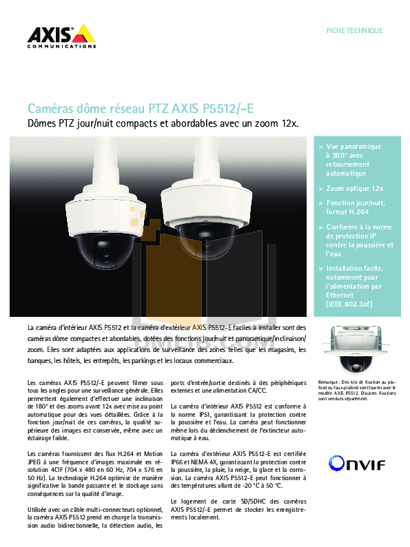 pdf for Axis Security Camera P5512-E manual