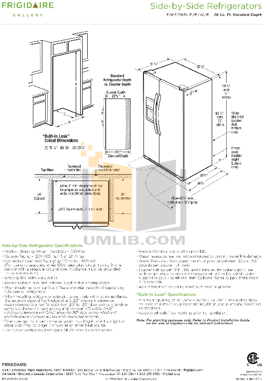 pdf for Frigidaire Refrigerator Gallery FGHS2667K manual
