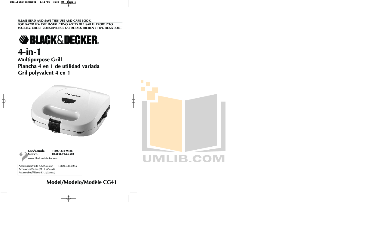 pdf for BlackAndDecker Grill CG41 manual