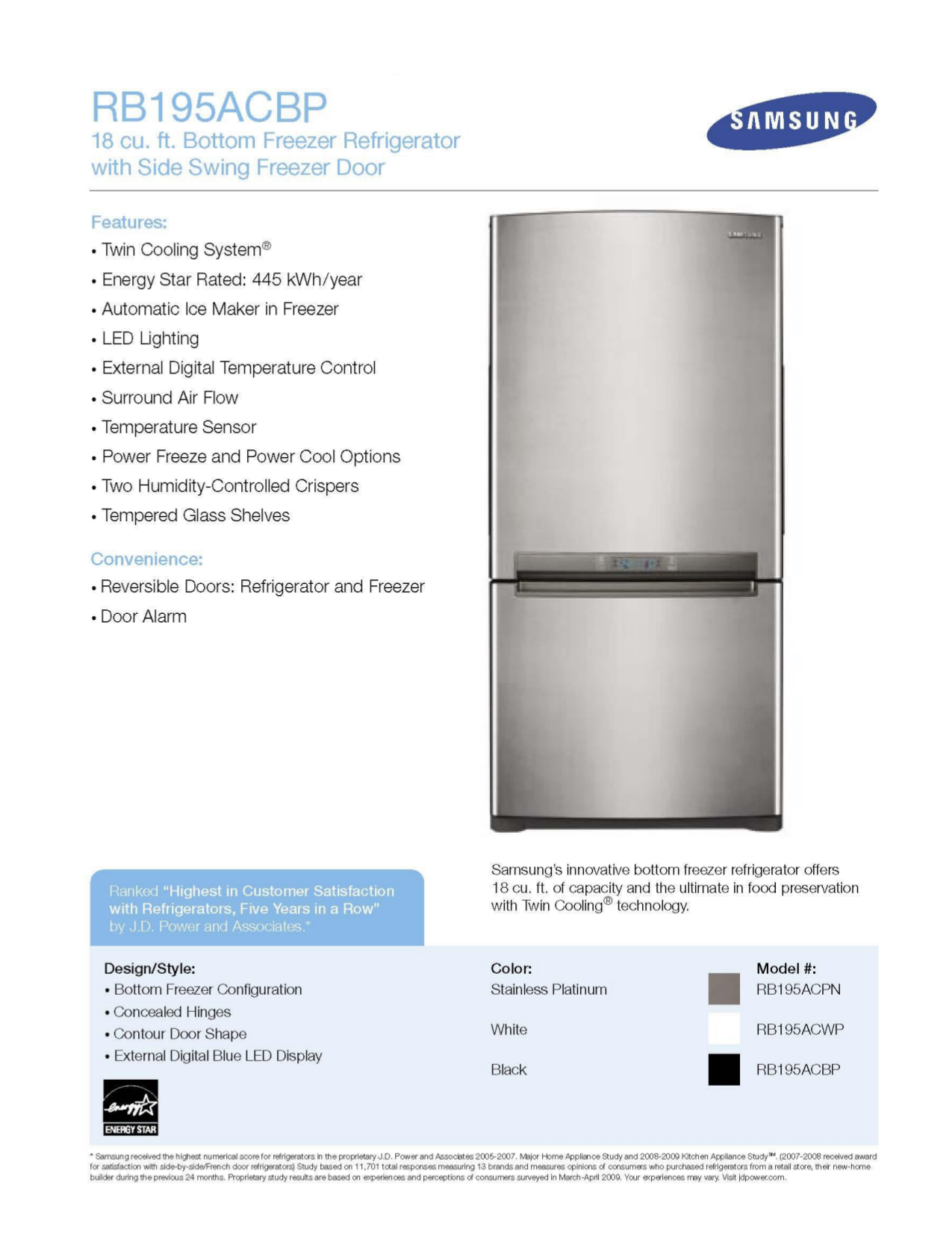 pdf for Samsung Refrigerator RB195AC manual