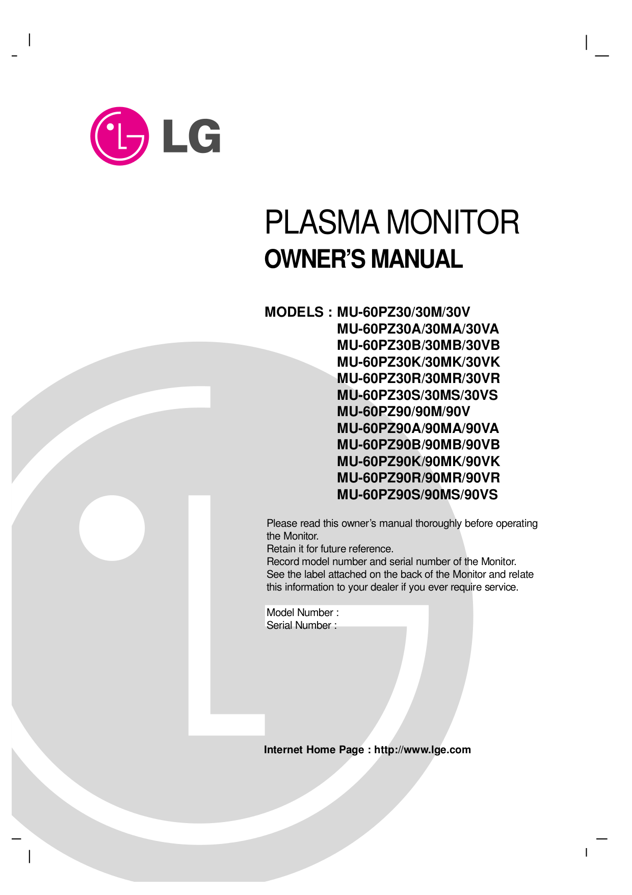 pdf for LG Monitor MU-60PZ90V manual