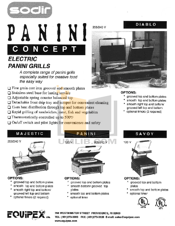 pdf for Equipex Grill PANINI manual
