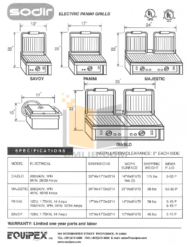 Equipex Grill PANINI pdf page preview