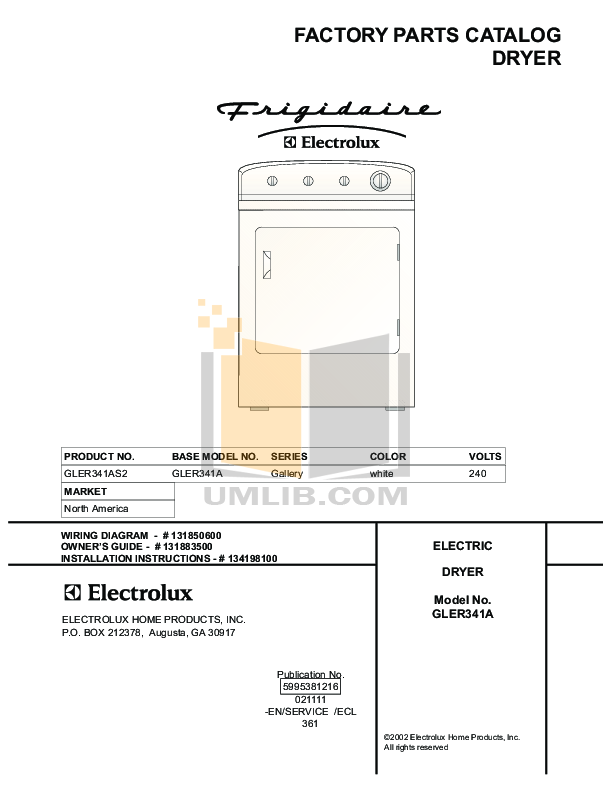 pdf for Frigidaire Dryer GLER341AS2 manual