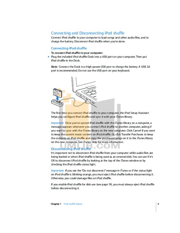 PDF manual for Apple MP3 Player iPod iPod Shuffle Third Gen 4GB