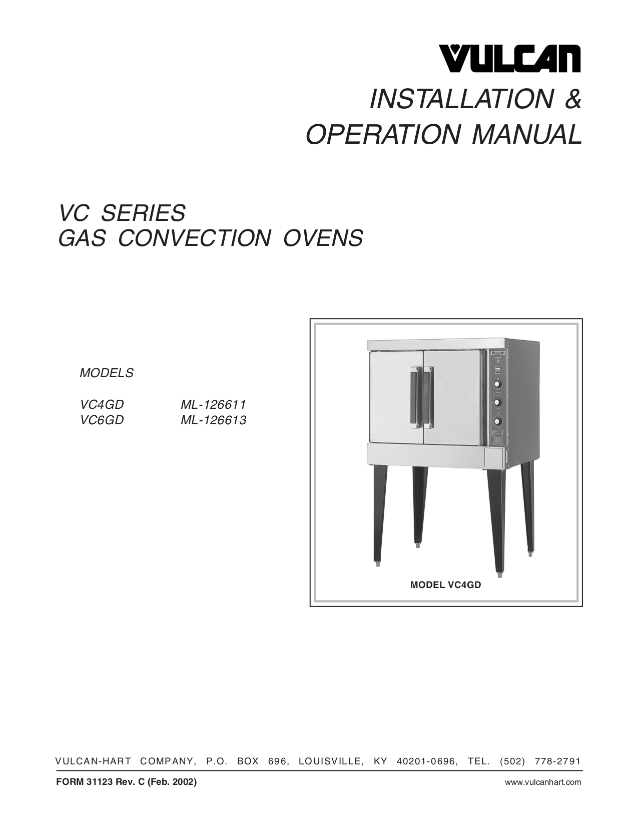 pdf for Vulcan Oven VC6GD manual