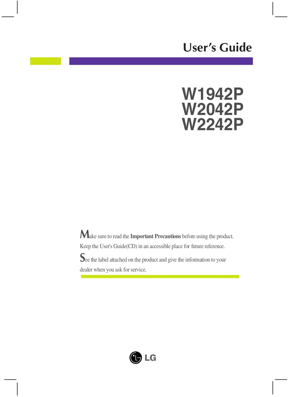pdf for LG Monitor W1942P manual