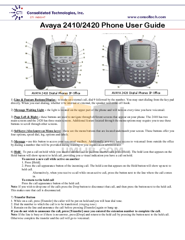 pdf for Avaya Telephone 2410 manual