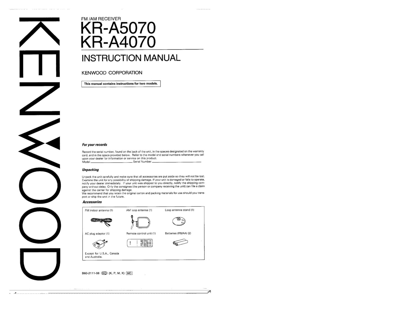 download free pdf for kenwood kr