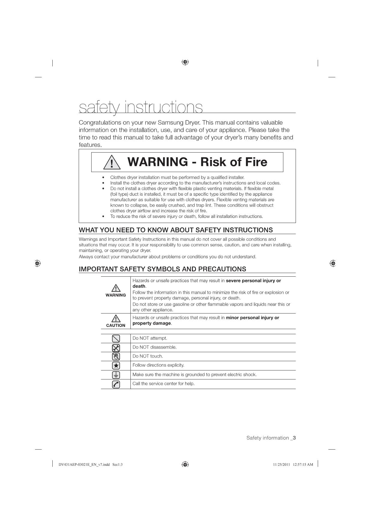 PDF manual for Samsung Dryer DV431AEP