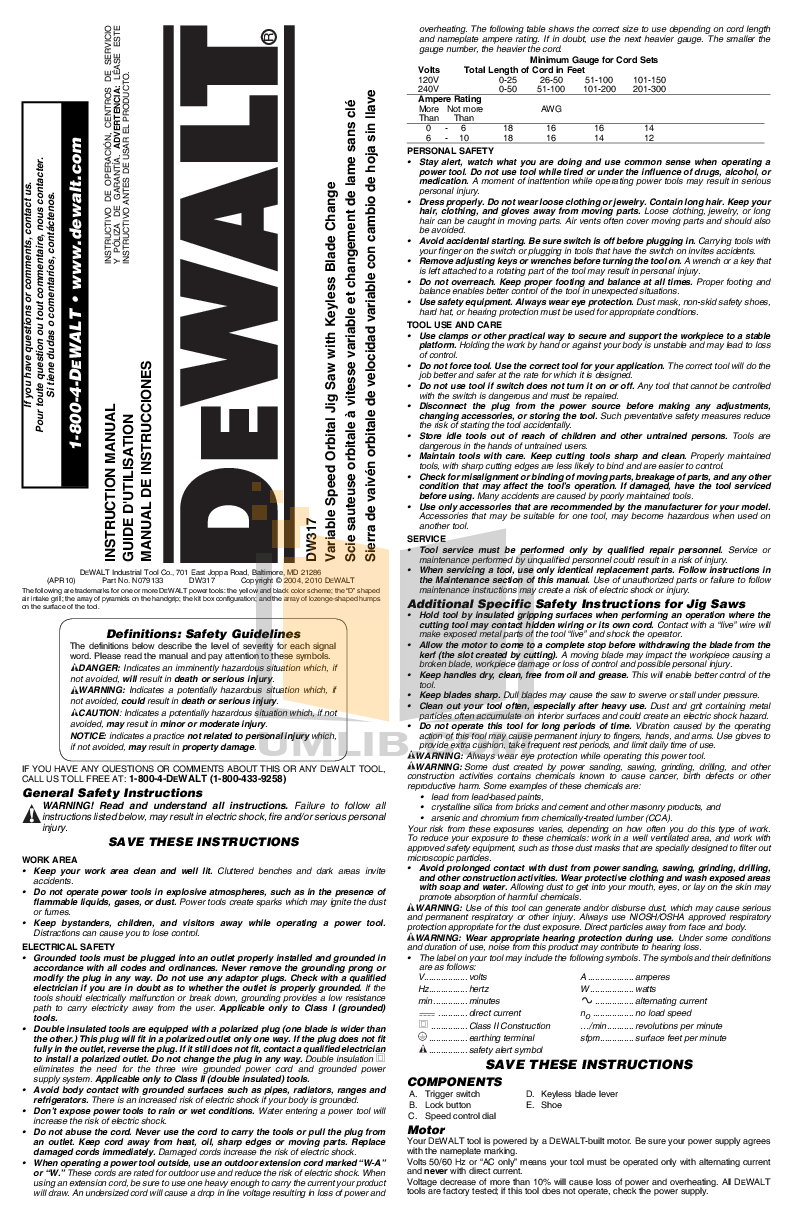 download free pdf for dewalt dw317 speed orbital jig saws other manual rh umlib com
