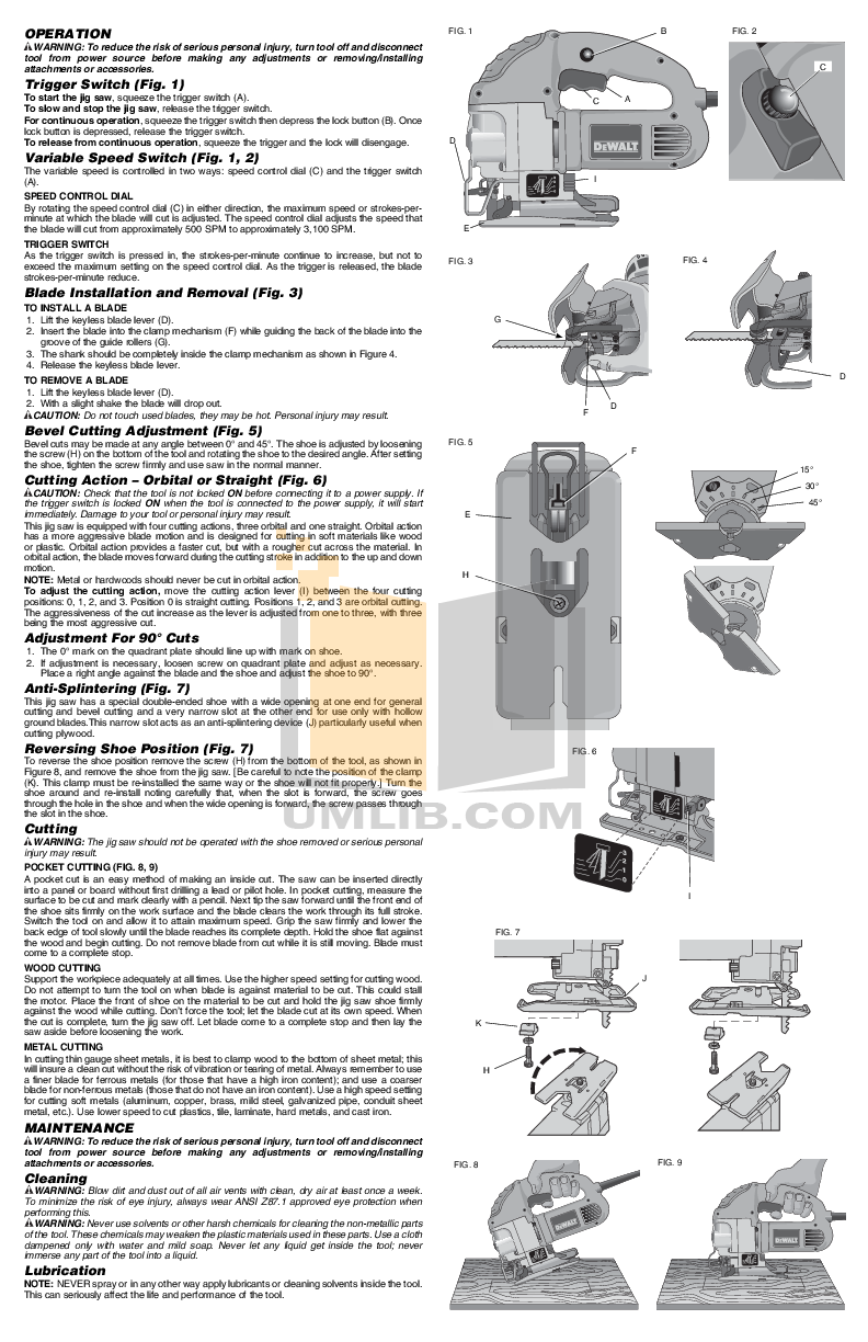 pdf manual for dewalt other dw317 speed orbital jig saws rh umlib com