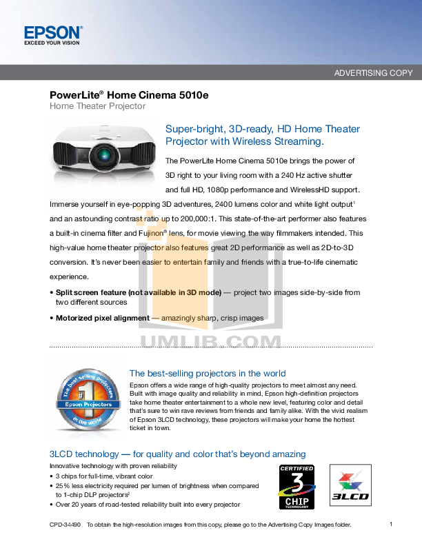 pdf for Epson Projector PowerLite 5010e manual