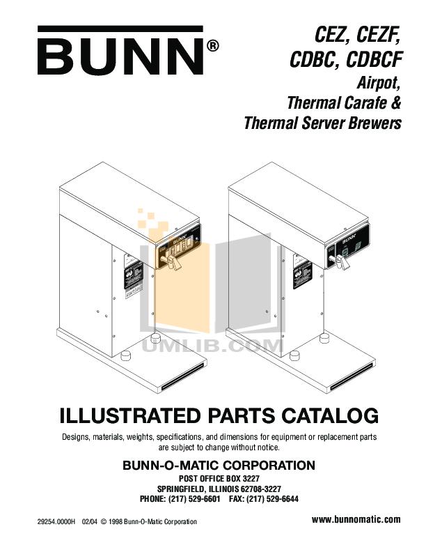 download free pdf for bunn cdbcf