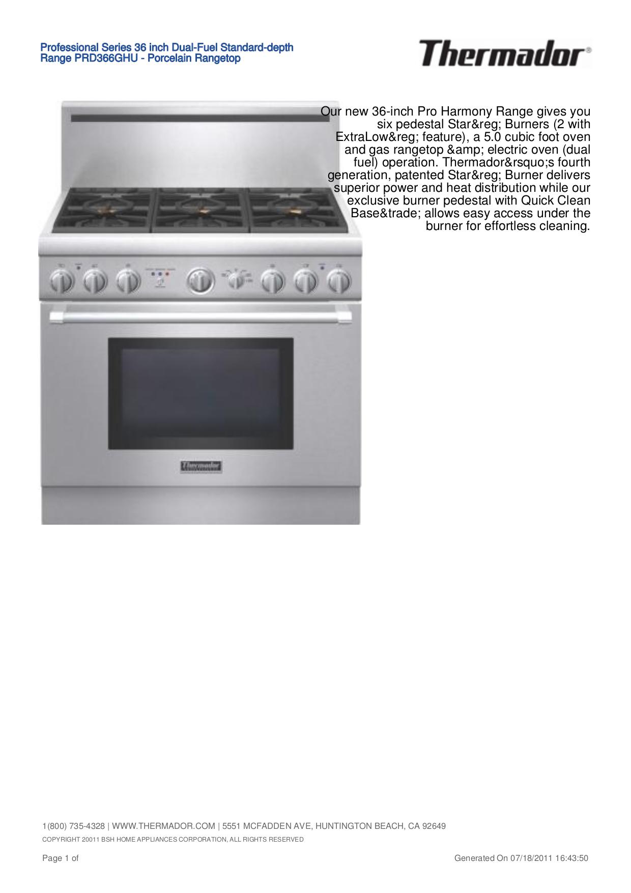Download free pdf for thermador prg486edpg range manual.