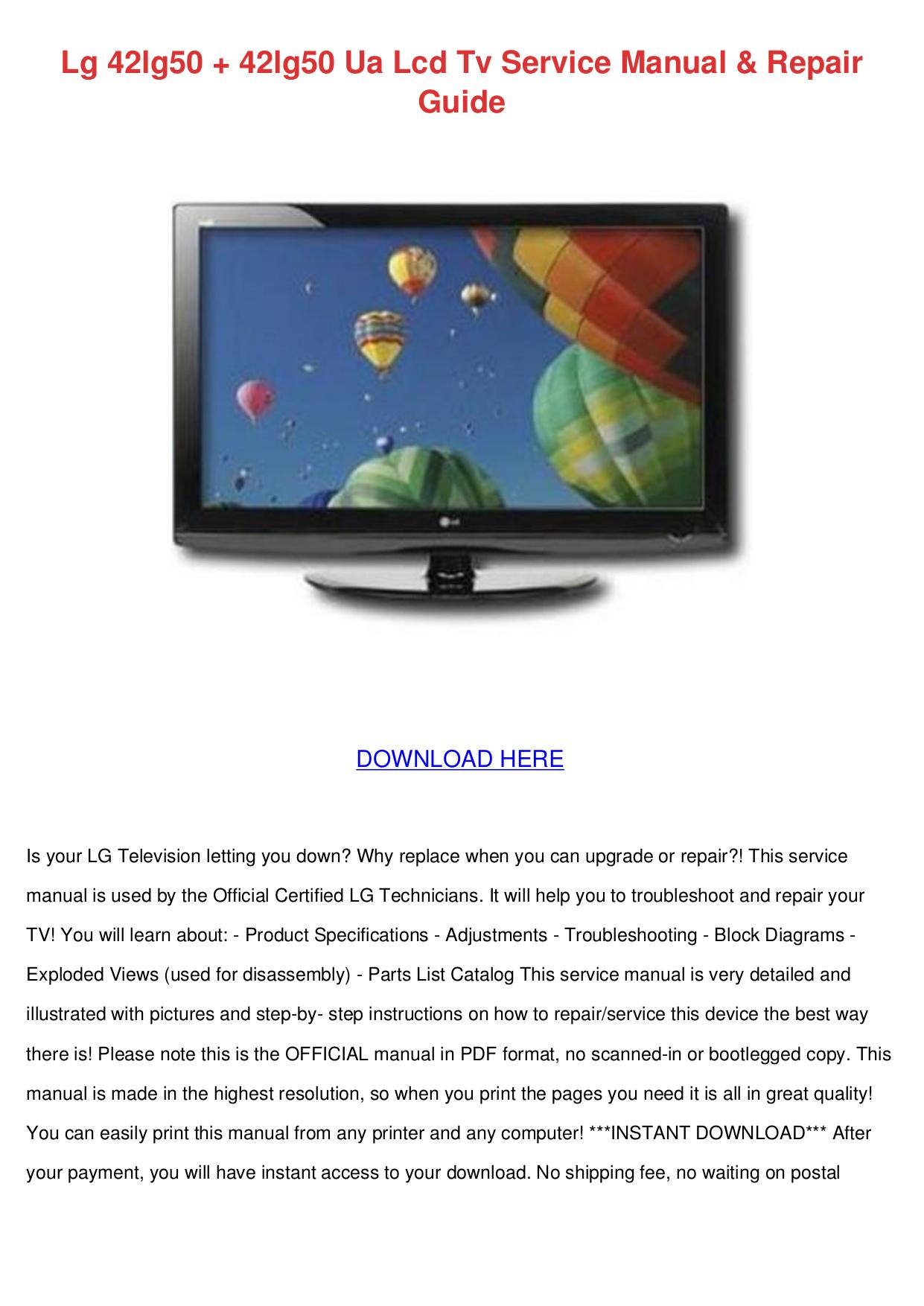 Download Free Pdf For Lg 42lg50 Tv Manual