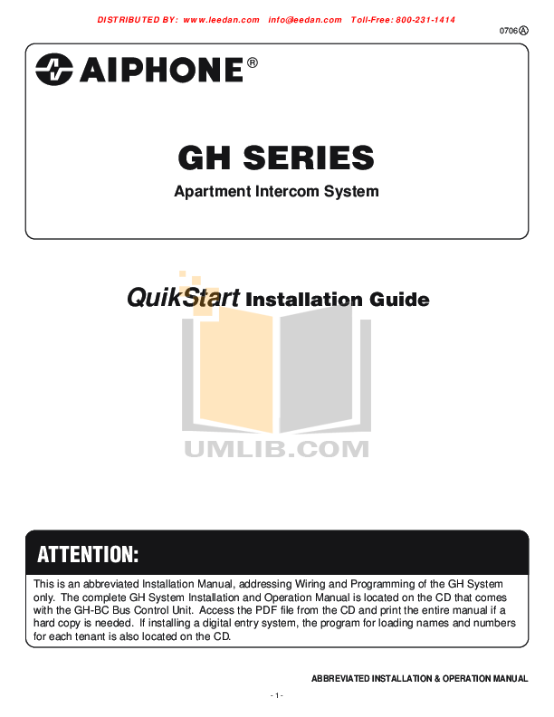 pdf for Aiphone Other GF-DA Intercoms manual