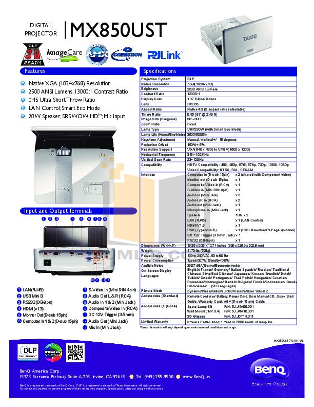 pdf for Benq Projector MX850UST manual