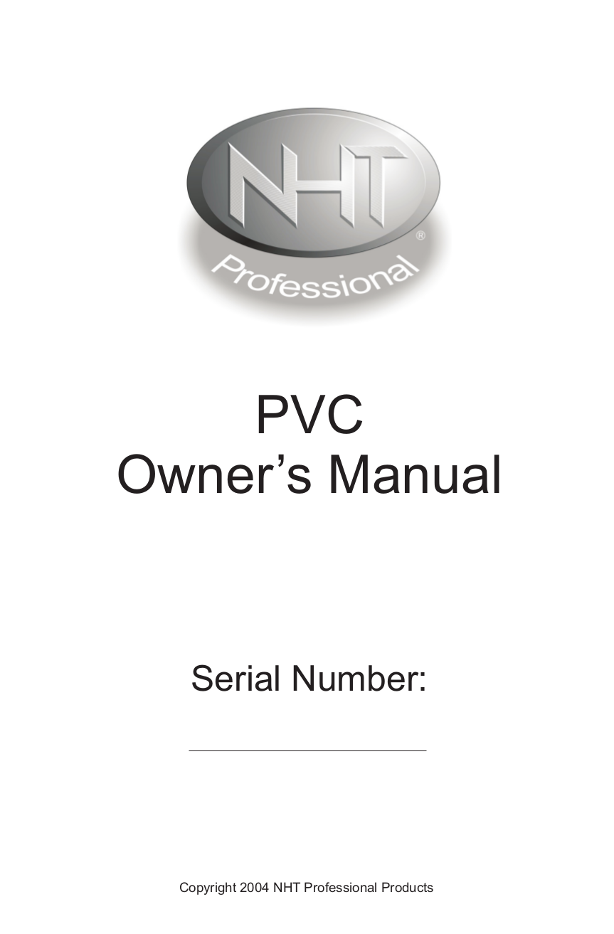 pdf for NHT Other PVC-PC Volume Controllers manual