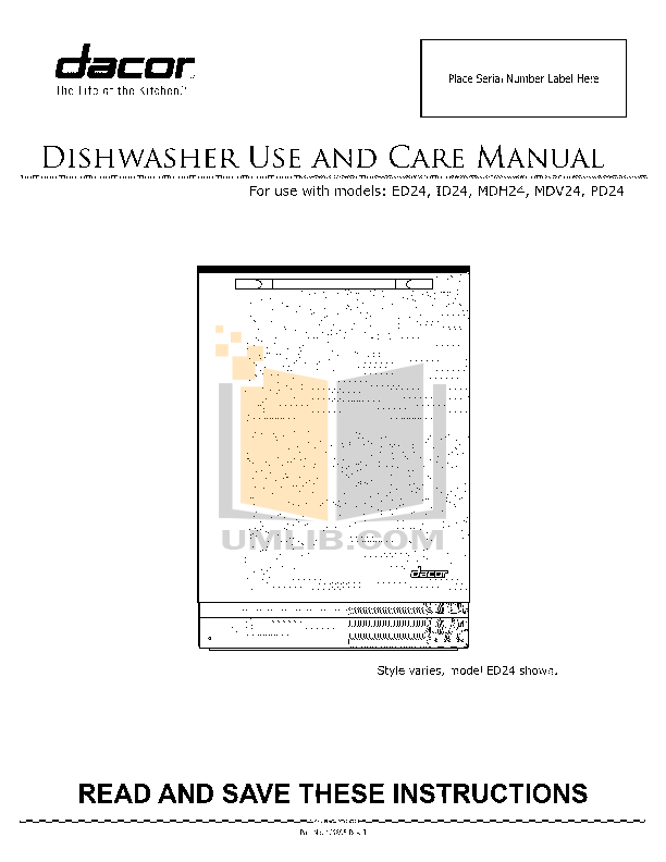pdf for Dacor Dishwasher Preference PD24 manual