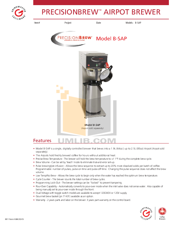 Download free pdf for Grindmaster B-SAP Coffee Maker manual