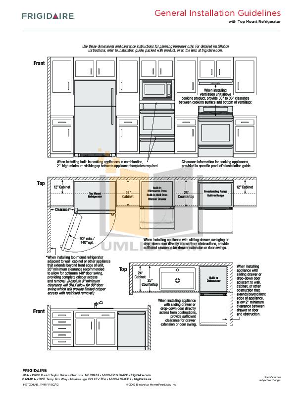 Frigidaire Refrigerator FFHT2142LS pdf page preview