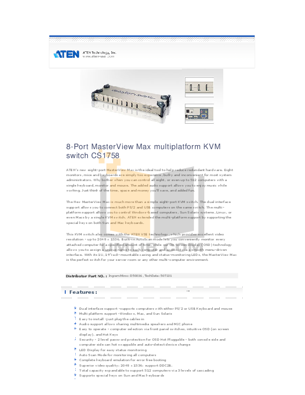 ATEN Other MasterView CS-122 CPU Switch pdf page preview