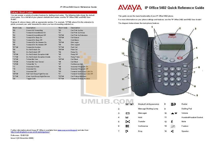 pdf for Avaya Telephone 5402 manual