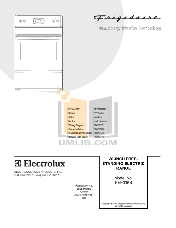 pdf for Frigidaire Range FEF336BC manual