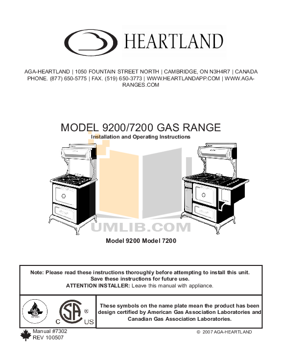 pdf for Heartland Range Classic 6210 manual