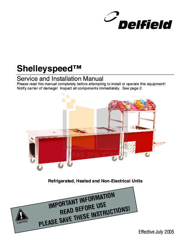 Delfield Refrigerator Shelleyspeed SPRD72P-74DW pdf page preview