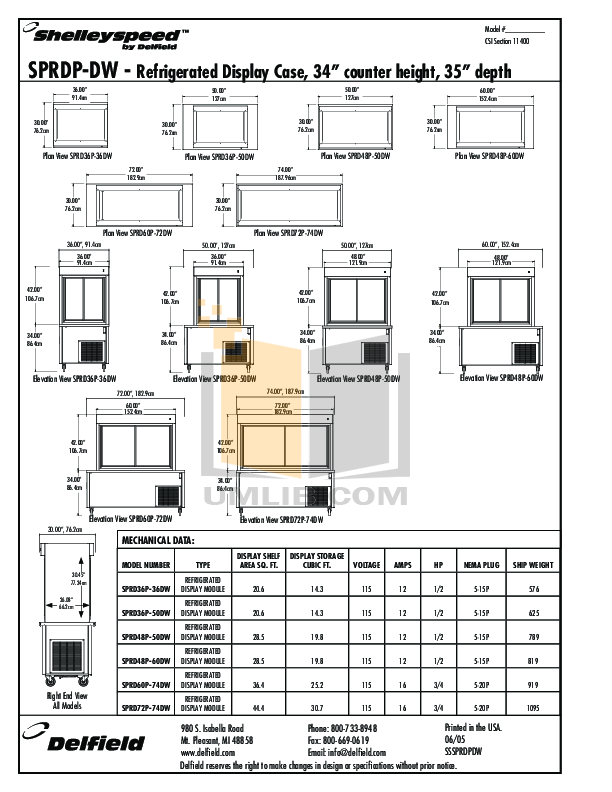 Delfield Refrigerator Shelleyspeed SPRD72P-74DW pdf page preview