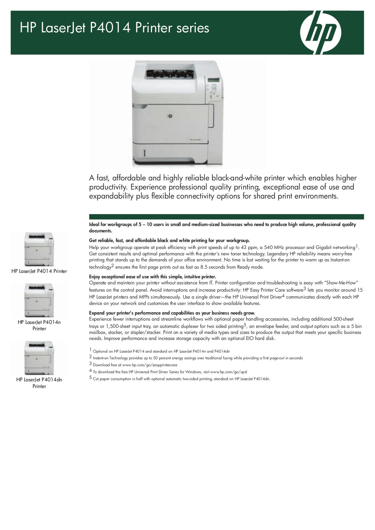 pdf for HP Printer Laserjet,Color Laserjet P4014 manual