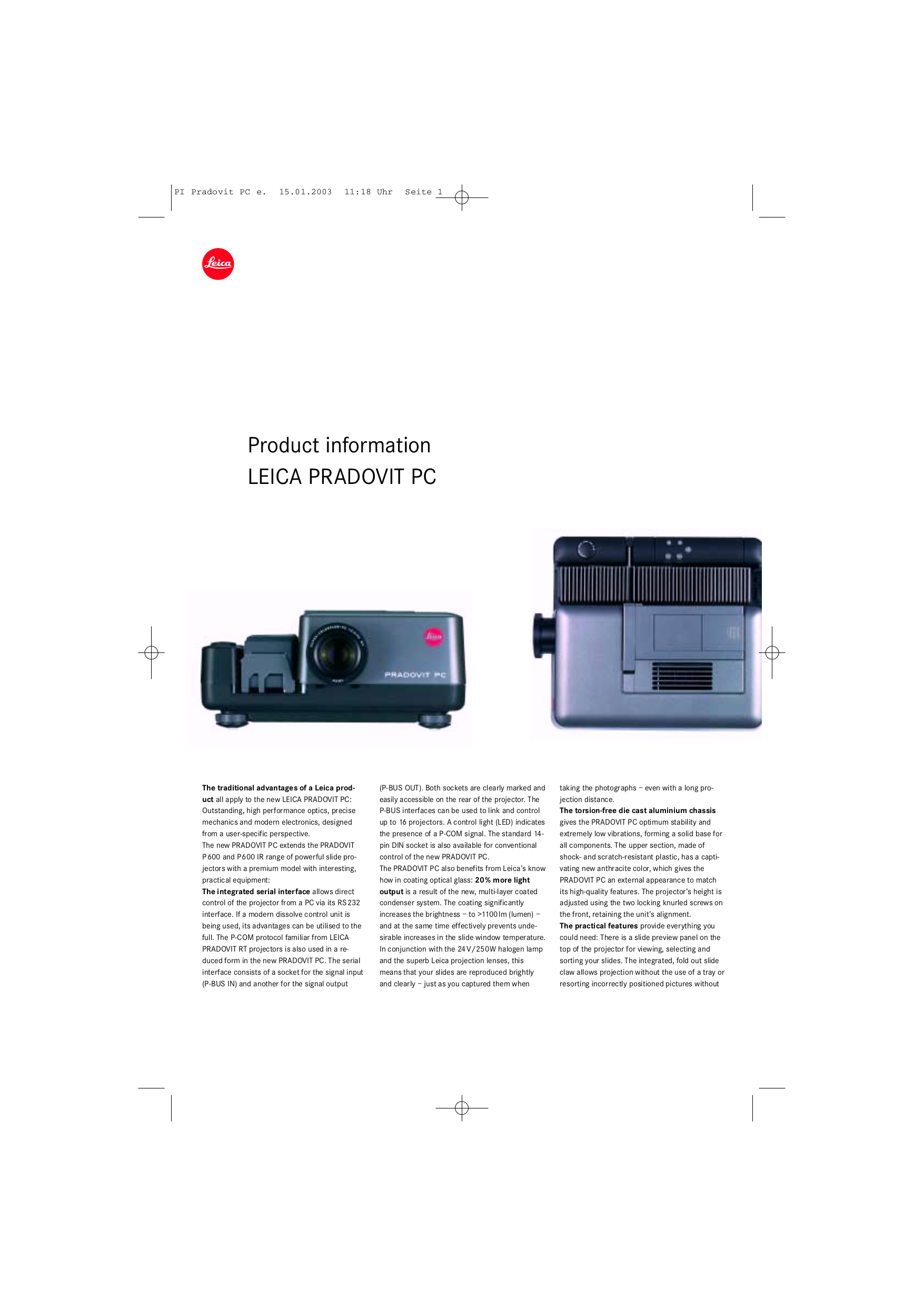 pdf for Leica Projector Pradovit RT manual