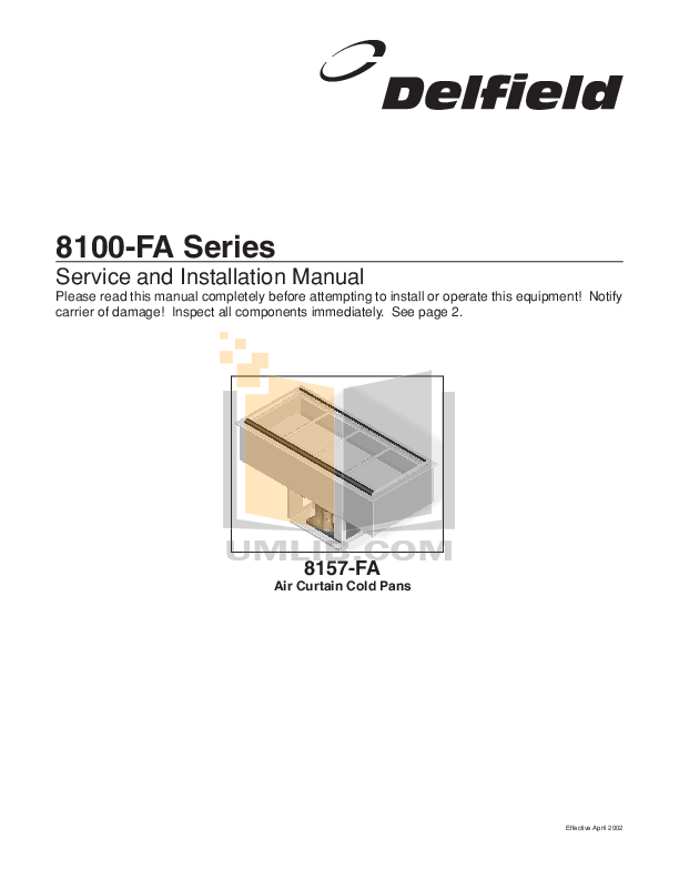 pdf for Delfield Other N8169B Cold Pans manual