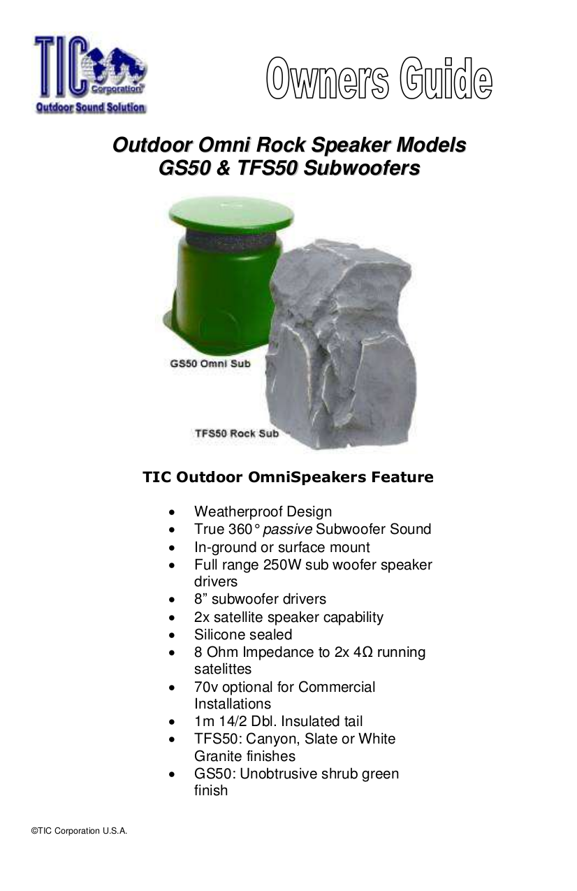 pdf for TIC Speaker TFS50 manual