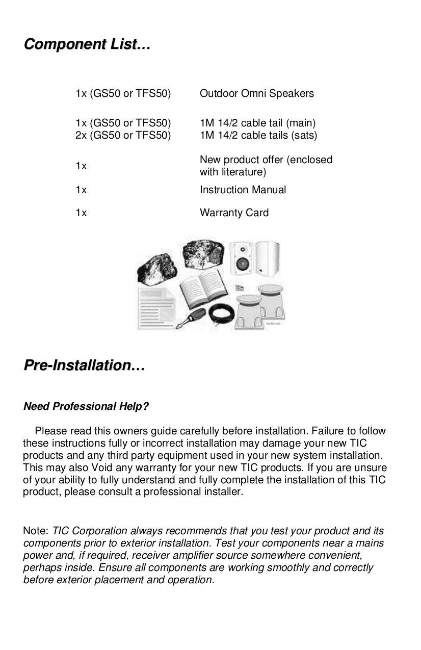 TIC Speaker TFS50 pdf page preview