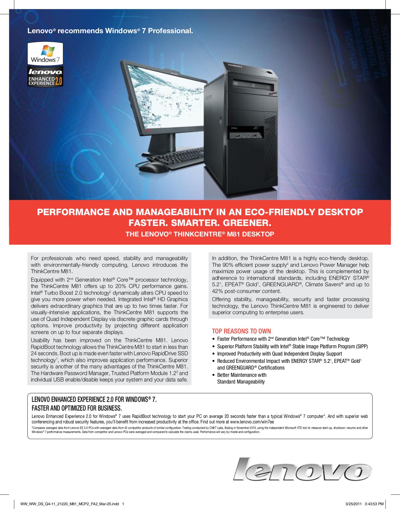 pdf for Lenovo Desktop ThinkCentre M81 5032 manual