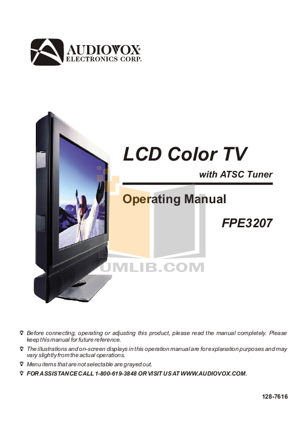 pdf for Audiovox TV FPE3207 manual