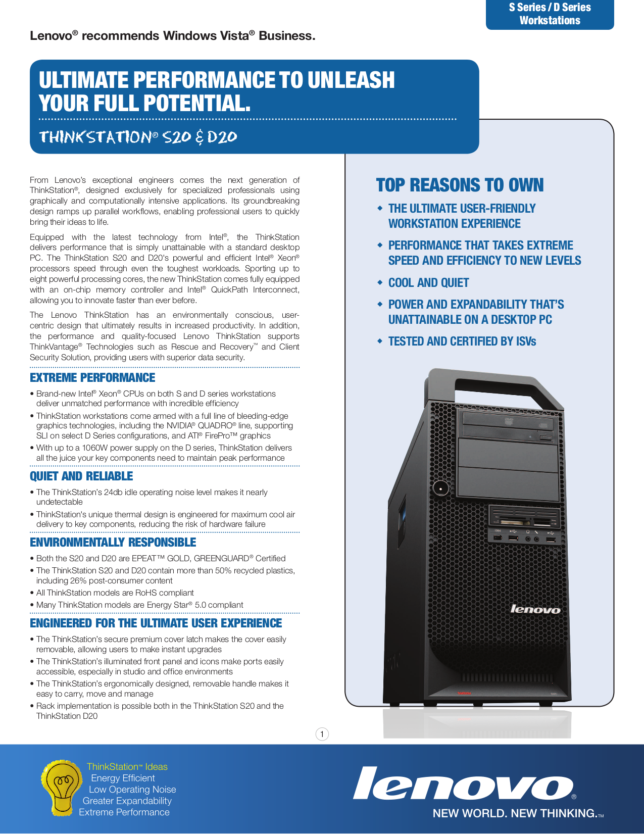 pdf for Lenovo Desktop ThinkStation D20 4158 manual
