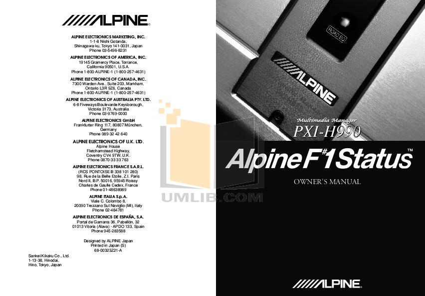 pdf for Alpine Car Video TMI-M990 manual