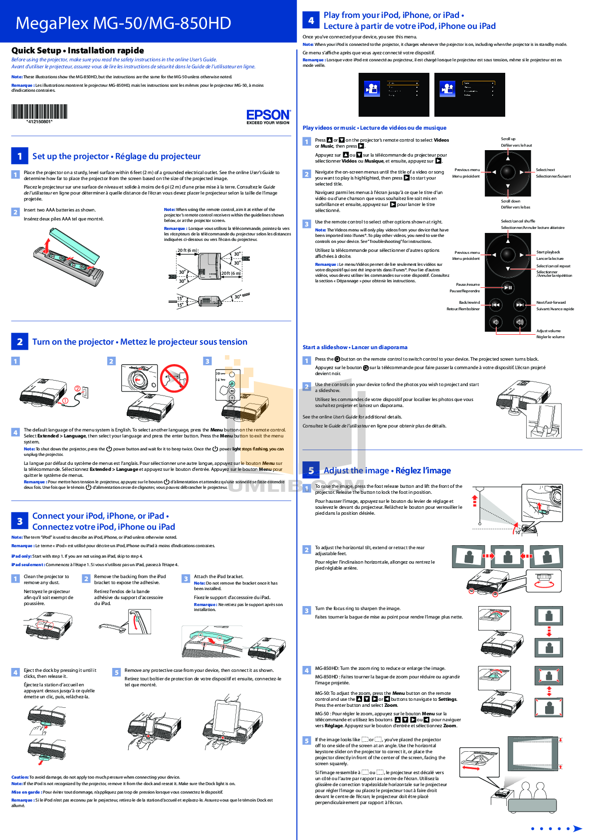 pdf for Epson Projector Megaplex MG-850HD manual