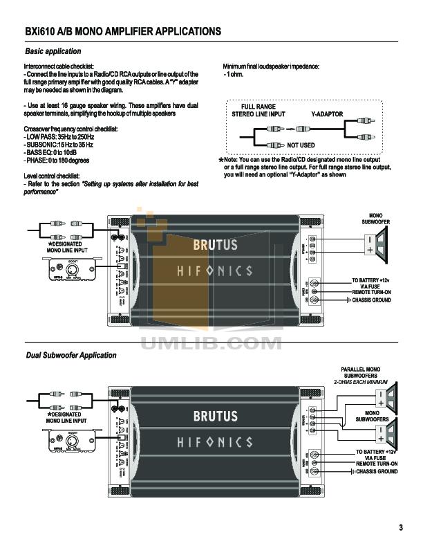 PDF manual for Hifonics Car Amplifier Brutus BXI 1210D