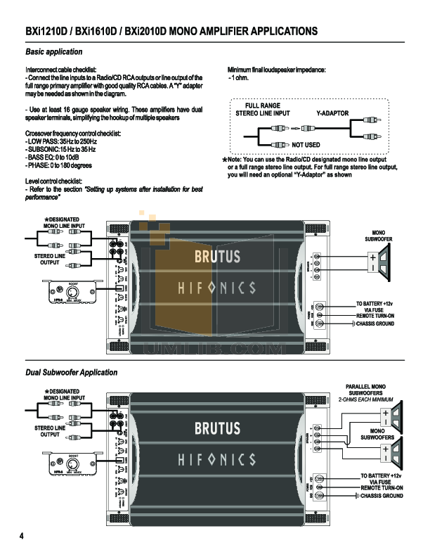 hifonics car amplifier brutus bxi 1210d pdf page preview