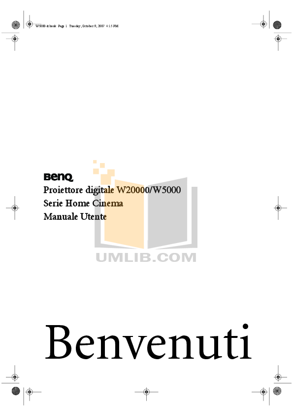 pdf for Benq Projector W20000 manual