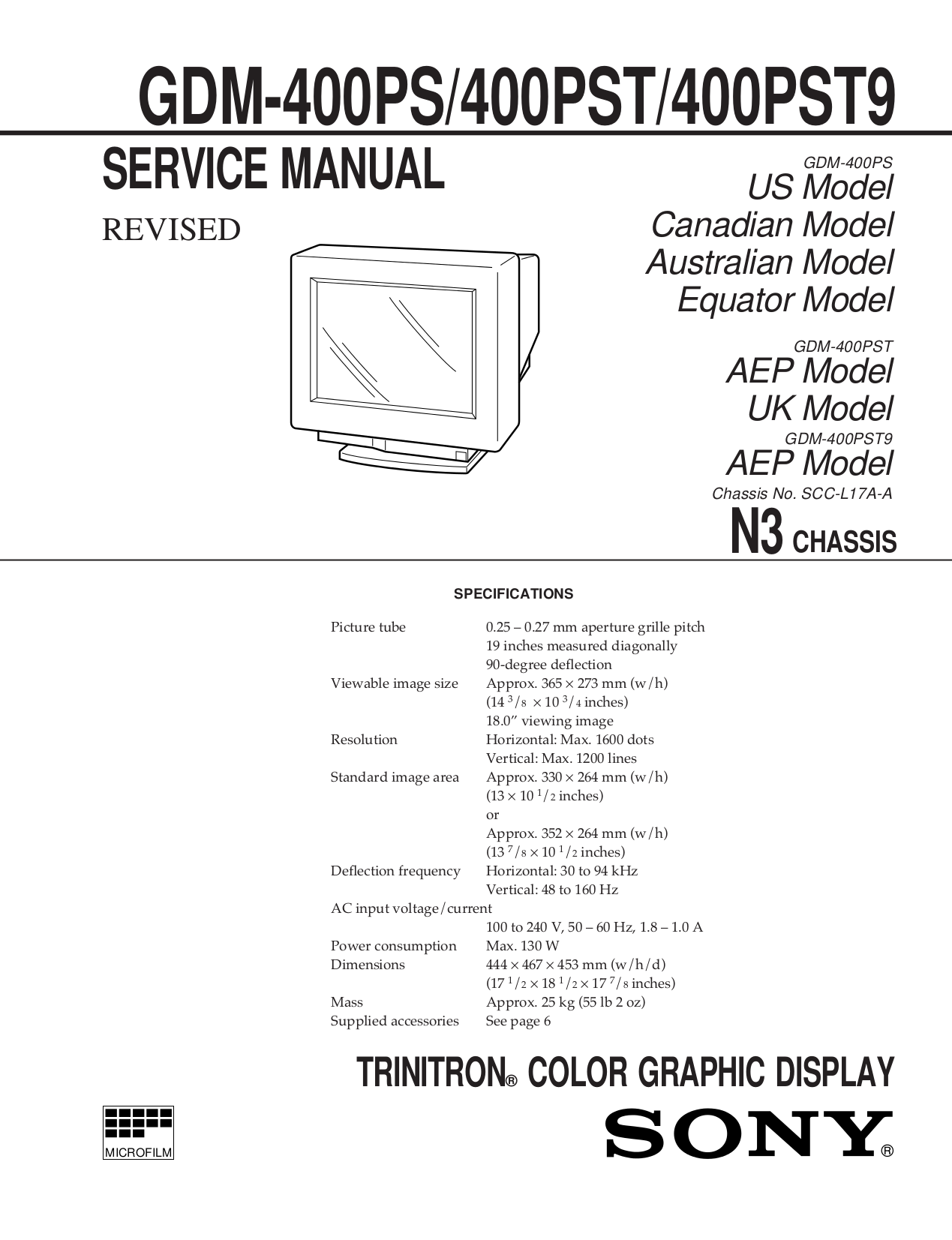 pdf for Sony Monitor GDM-400PS manual